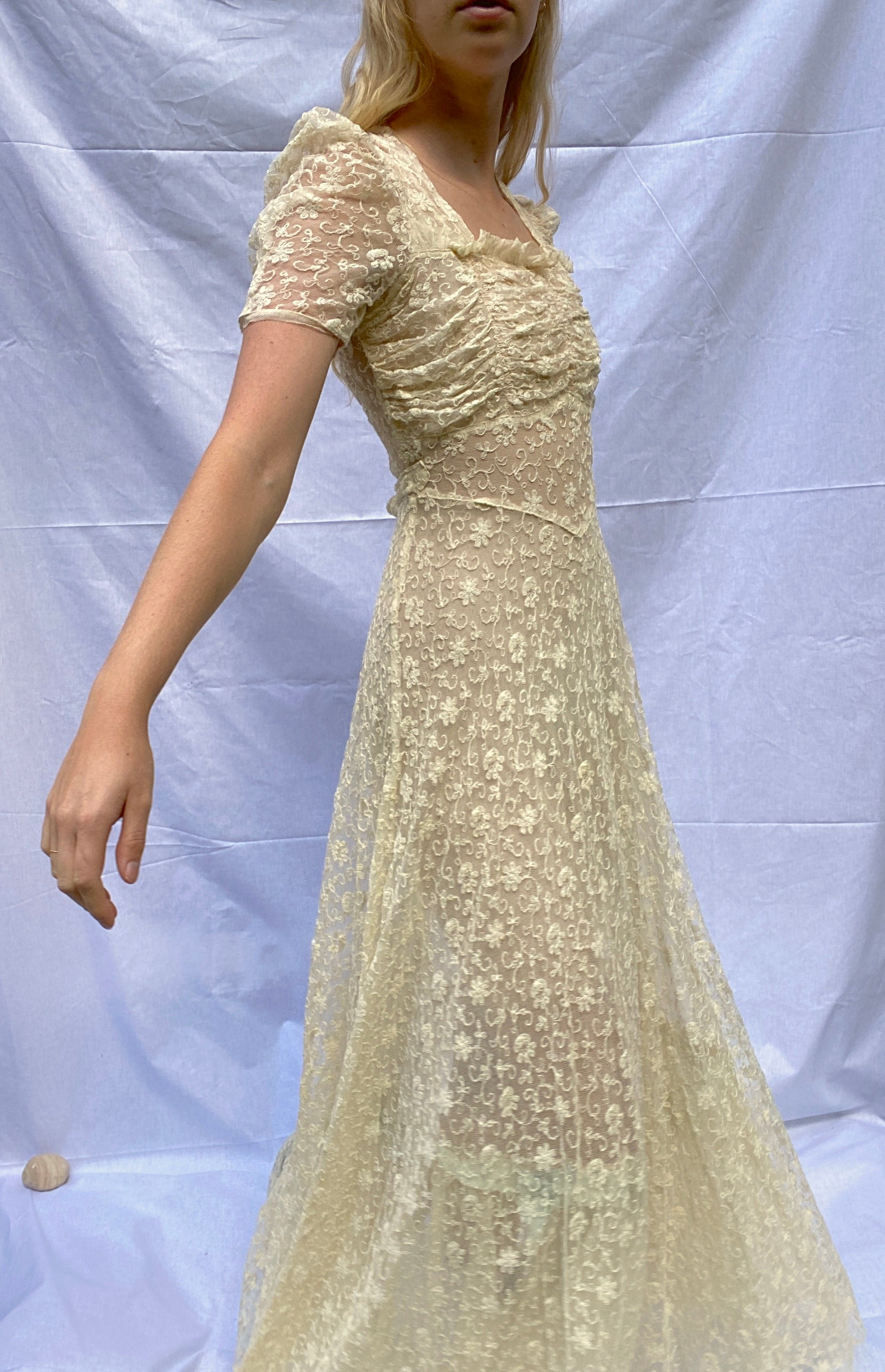 1940's Embroidered Cream Cotton Net Summer Party Dress