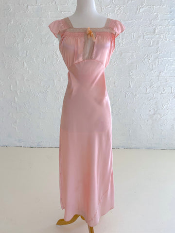 Pink Rayon Dress with Lace and Scalloped detail with Small Puffed Sleeve