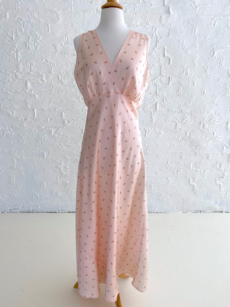 Pink Rayon Dress with Floral Print