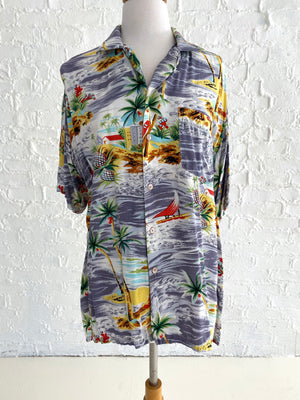 Silk Palm Tree and Bird print Hawaiian Button Down Shirt
