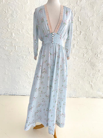 Blue Rayon Robe with Floral Lace Detail and Five Button Closure