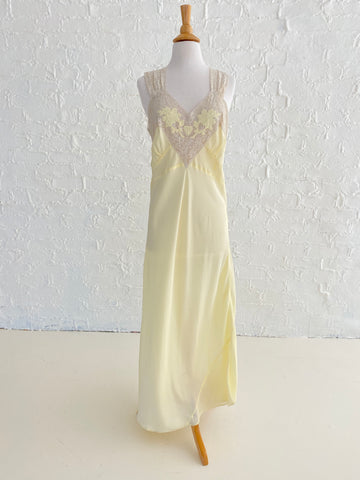 Yellow Rayon Dress with Lace Top and Floral Detail
