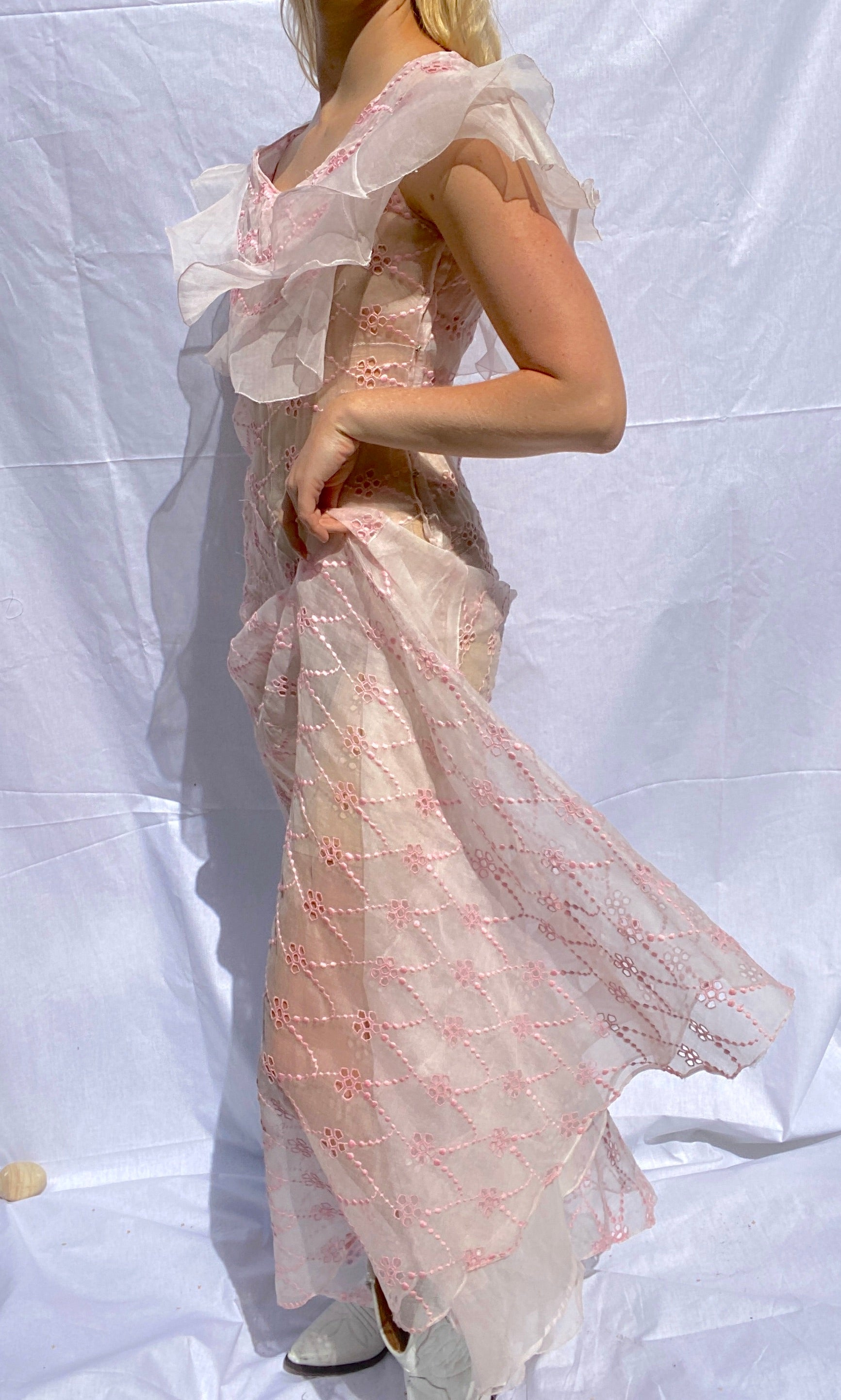 Pink Floral Eyelet Organza Summer Party Dress