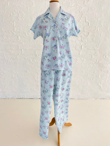Blue Rayon Pajama Set With Floral Print