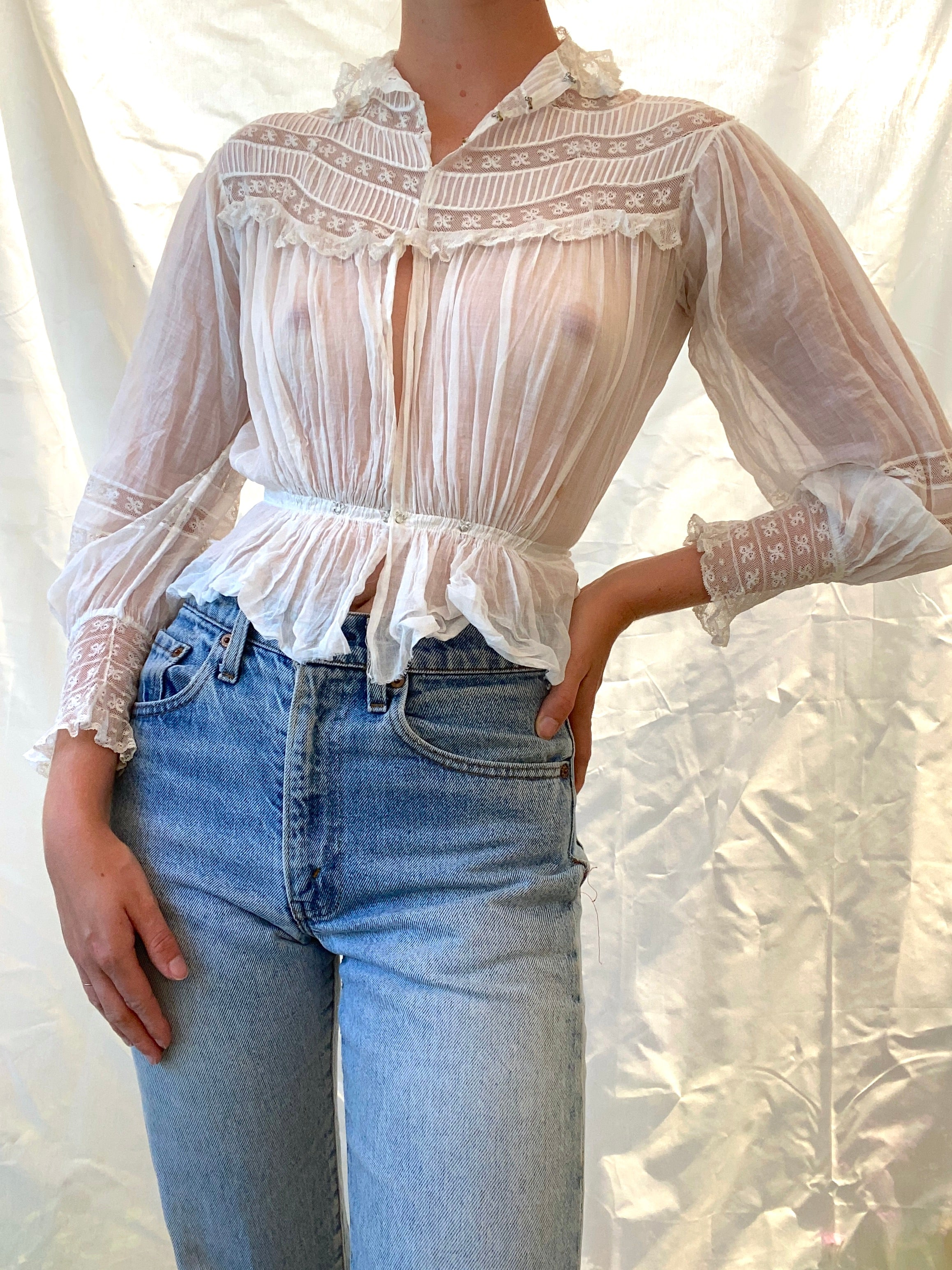 White Cotton Victorian Blouse