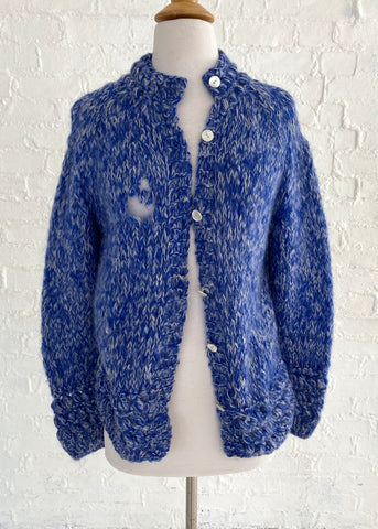 Blue and White Knit Cardigan