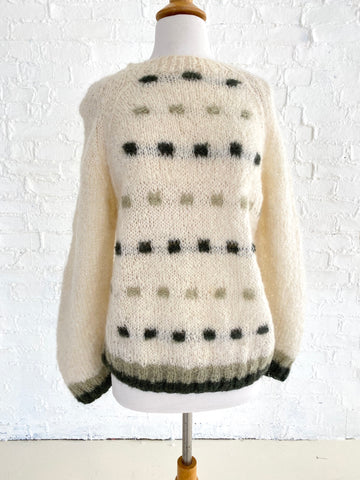 Cream Knit Sweater with Alternating Square Pattern