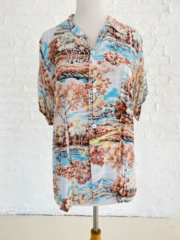 Japanese Mountain Print Fujiyama Sakura Button Down Shirt
