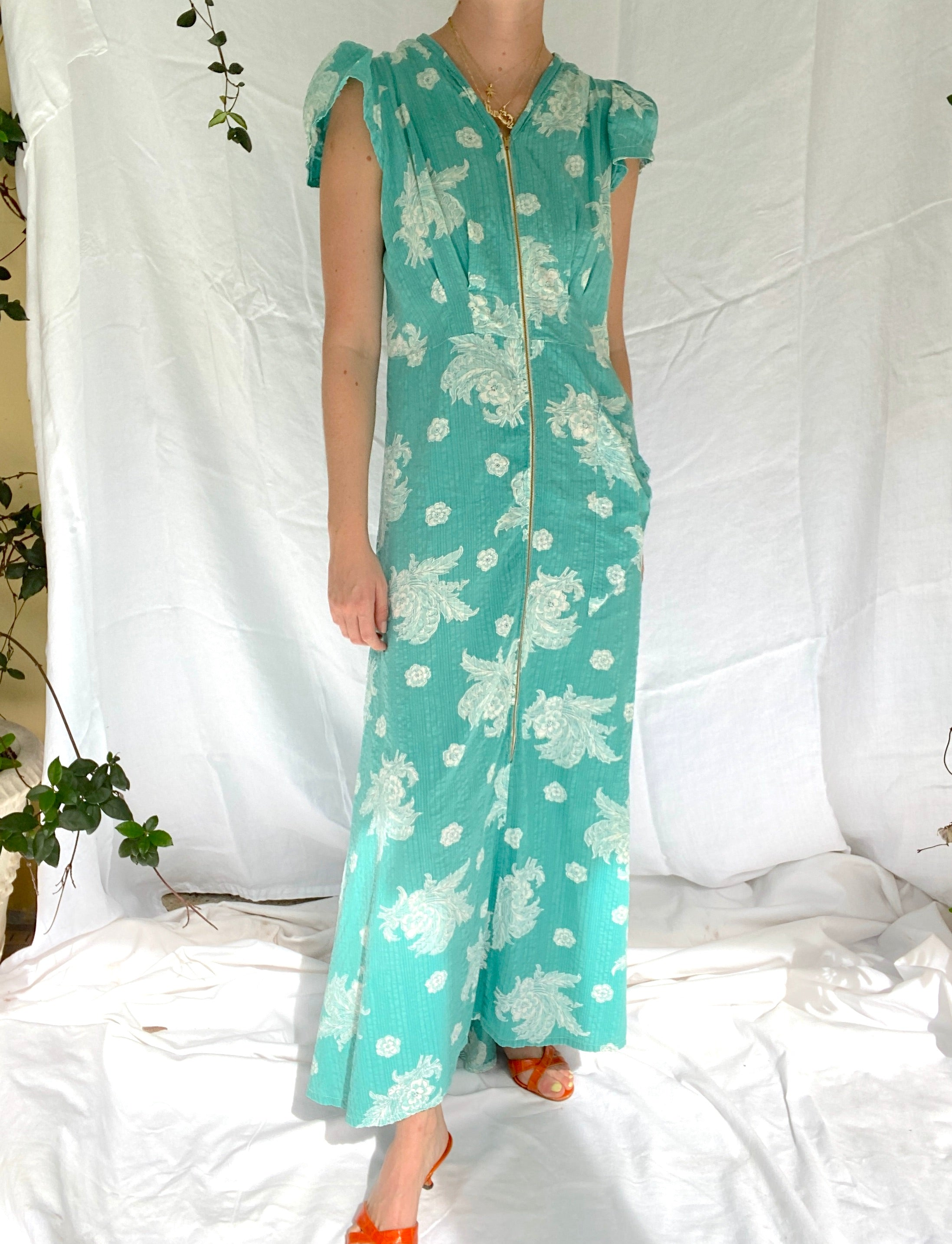1930's Turquoise 3/4 Zip Floral Print Dress