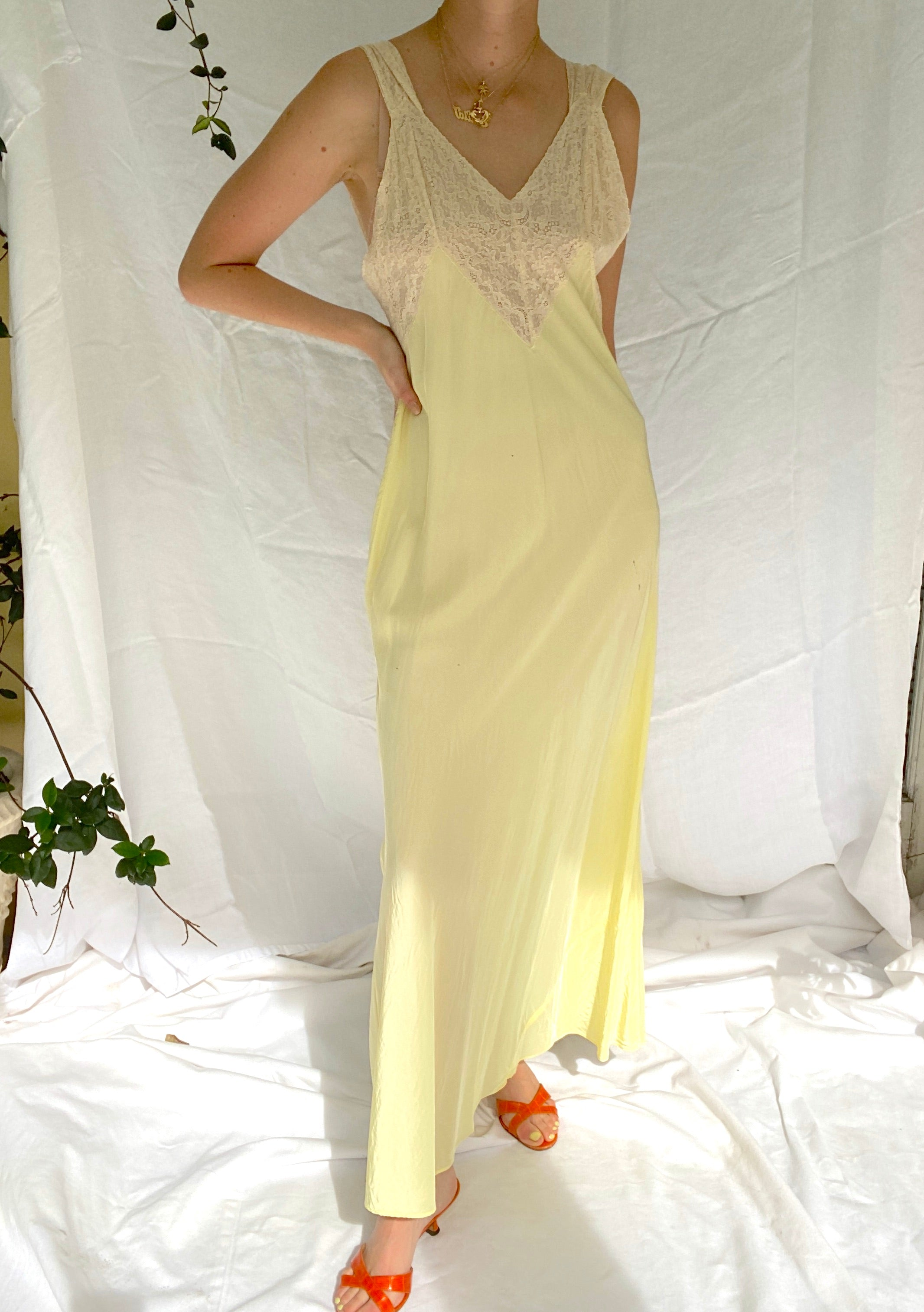 1930's Canary Yellow Slip with Cream Lace