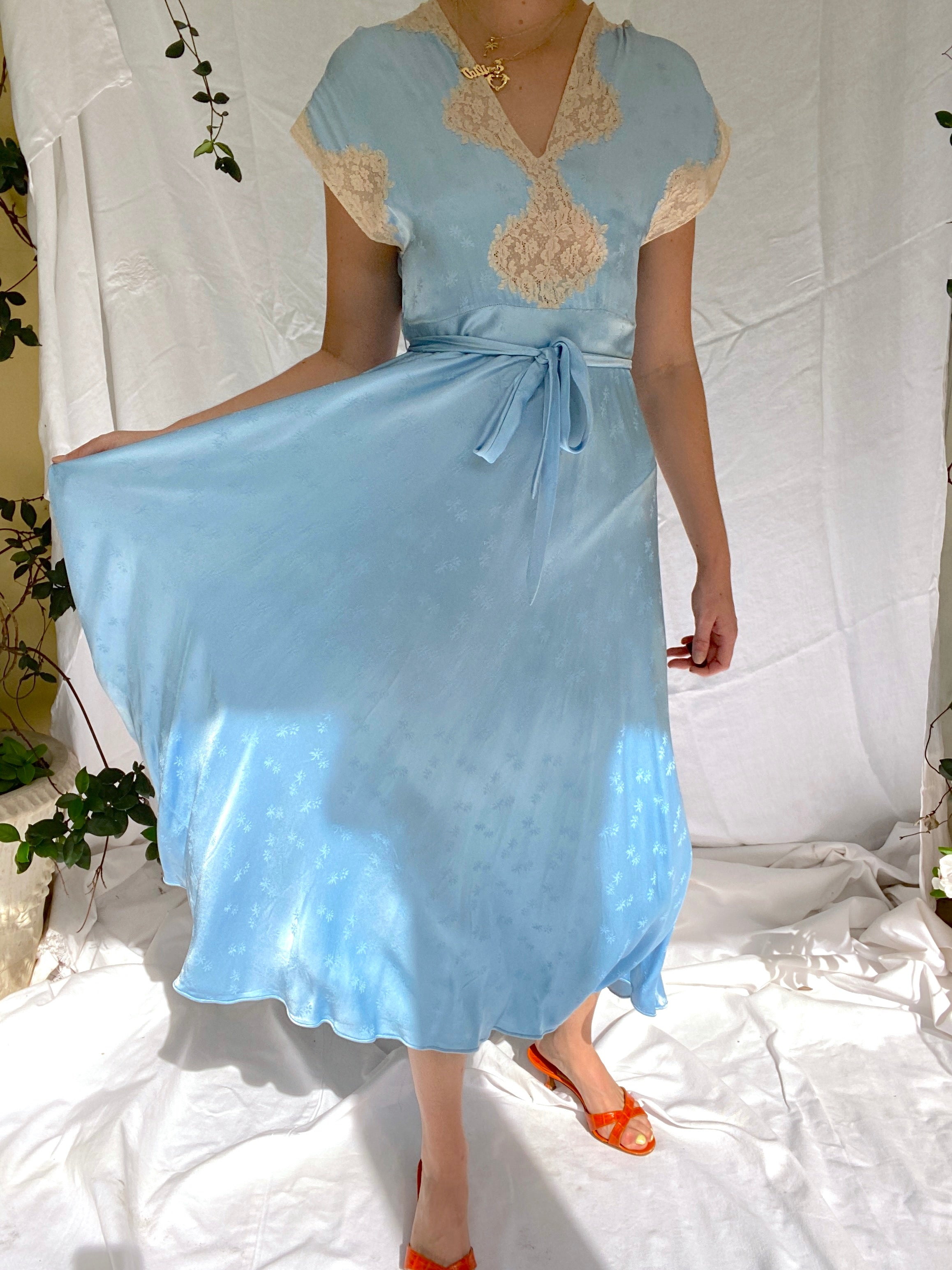 1930's Sky Blue Floral Silk Dress with Cream Lace