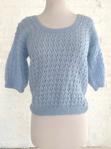 Light Blue 3/4 Sleeve Knit Sweater