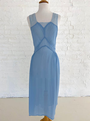 Blue Chiffon Dress with Lace Straps with ties