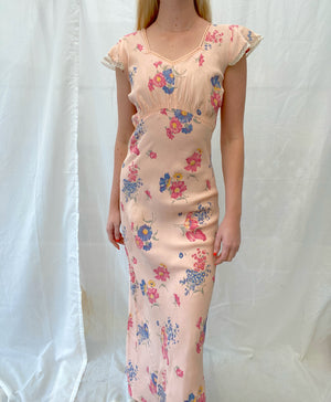 1940's Pink Floral Print Slip With Cap Sleeve
