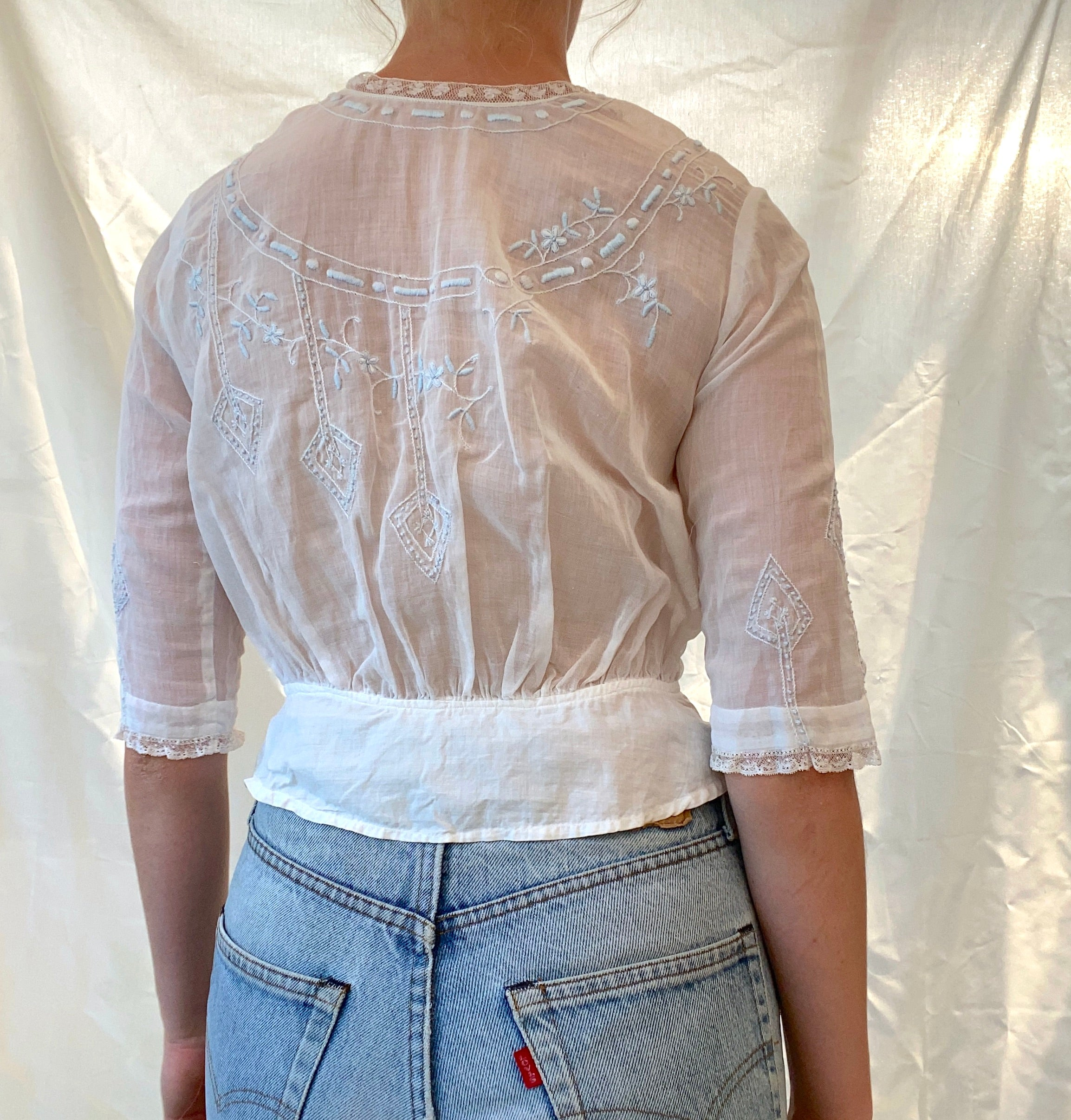 White Cotton Victorian Blouse with Light Blue Embroidery