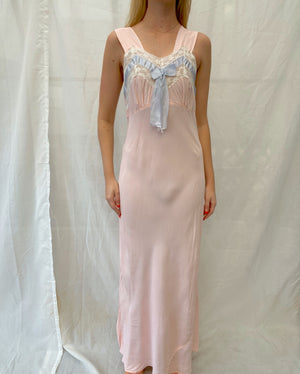 1940's Pink Slip with Blue Bow and White Lace
