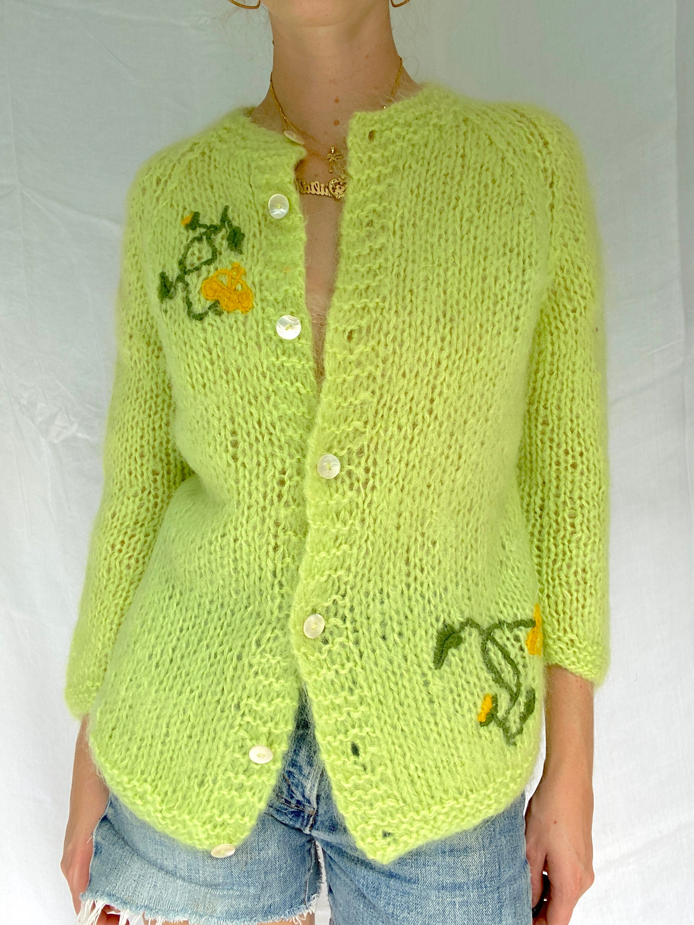 Lime Green Hand Knit Cardigan
