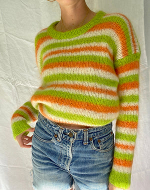 Hand Knit Green, Cream and Orange Striped Sweater