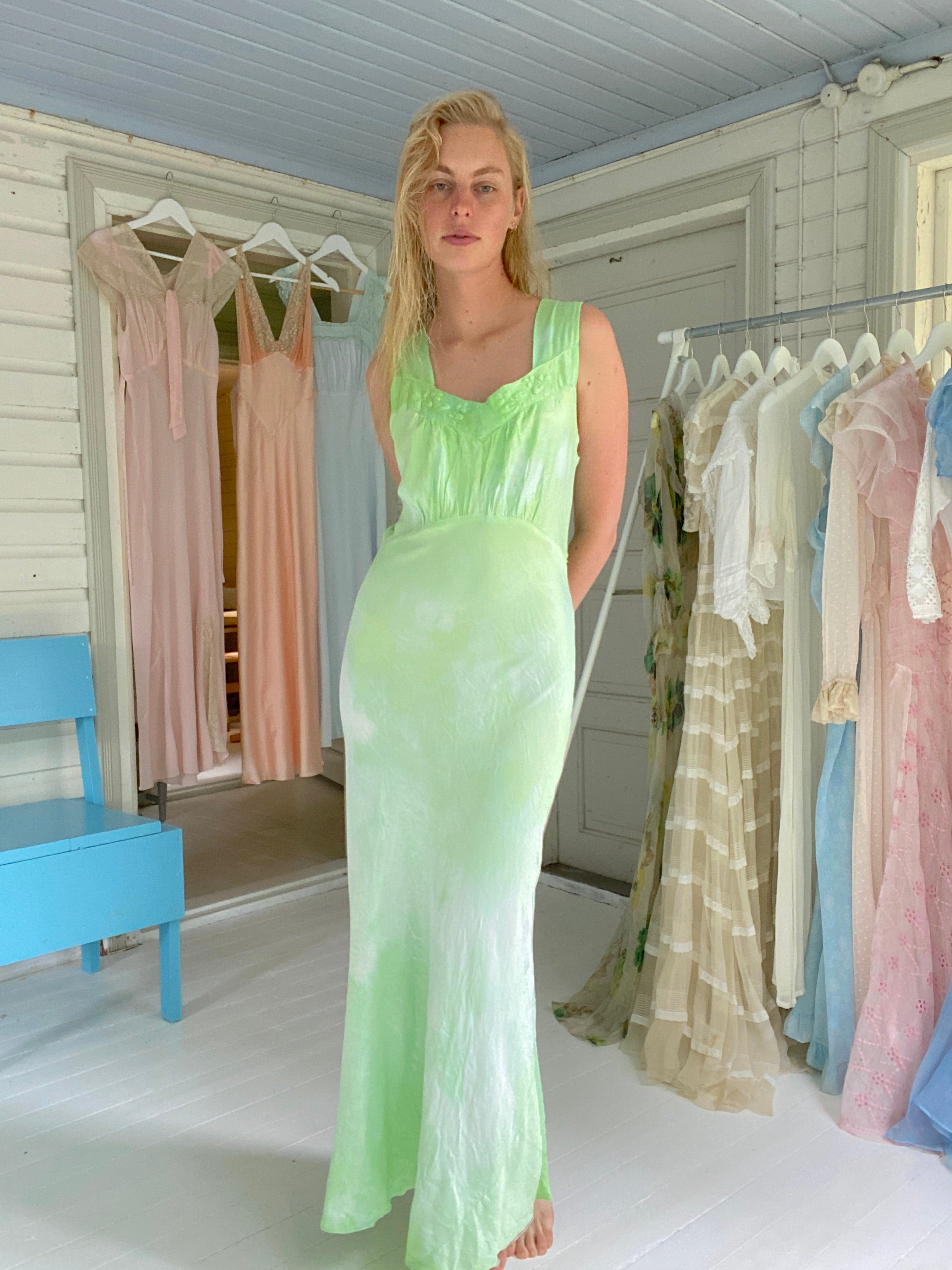 Hand Dyed Tropical Green Silk Slip