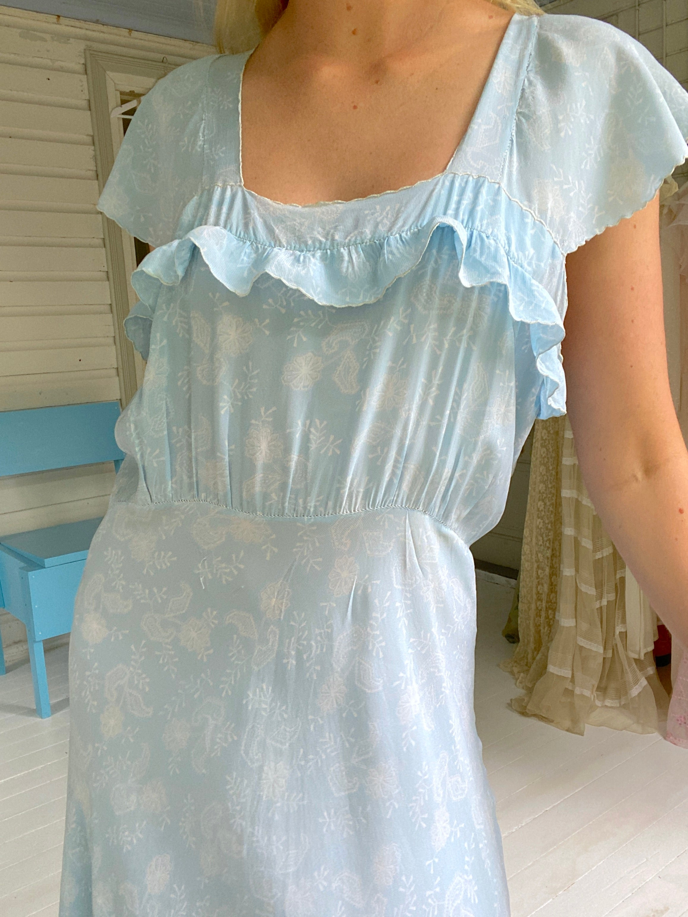 1940's Baby Blue White Floral Print Dress