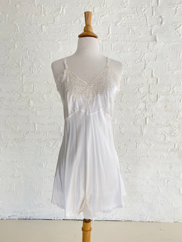 White Rayon Step-in With Lace Detail