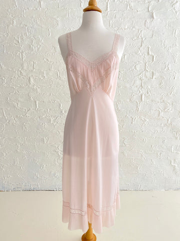 Pink Nylon Slip Dress with Lace Top and Pleated Hem