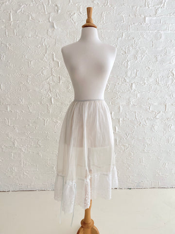 White Voile Half Slip Skirt with Green Silk Tie and Eyelet Detail