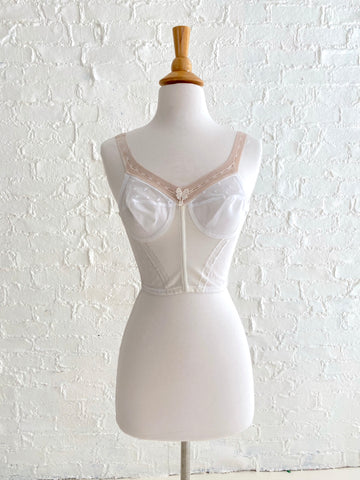 1950's White Elastic Bustier with Butterfly Detail and white stitching
