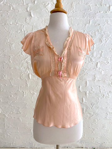 Pink Rayon Pajama Top with Lace Detail