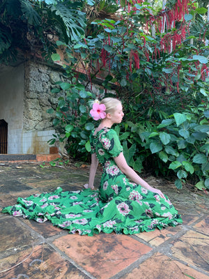 Green Floral Hawaiian Wedding Dress