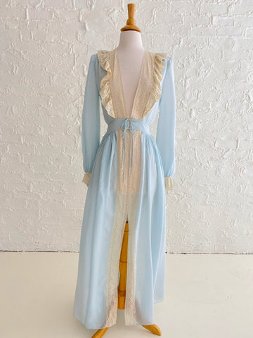 Light Blue Rayon Robe With Cream Lace Detail