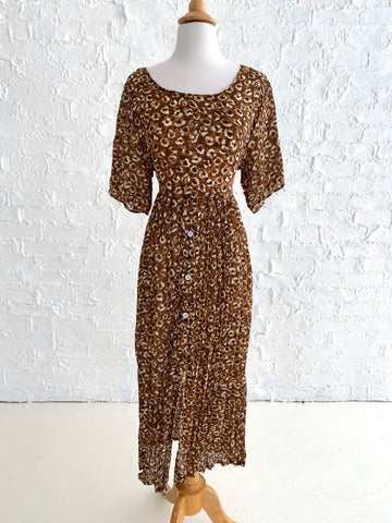 80's Brown Floral Print Day Dress