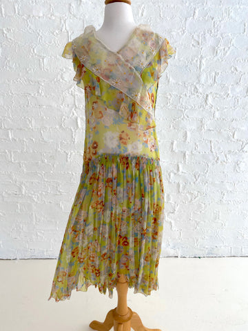 30's Multicolor Floral Print Chiffon Dress