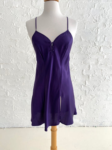 100% Silk Short Purple Slip Dress with High Slit and Button Detail