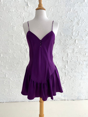 100% Silk Short Purple Slip Dress with Low Back and Bow Detail