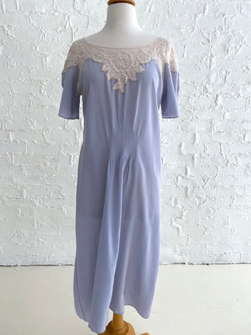 Handmade Light Blue Silk Dress with Lace ruche detail