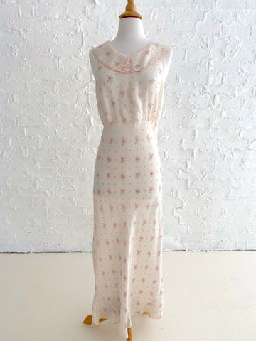 Cream Silk Slip dress with Pink Floral Print