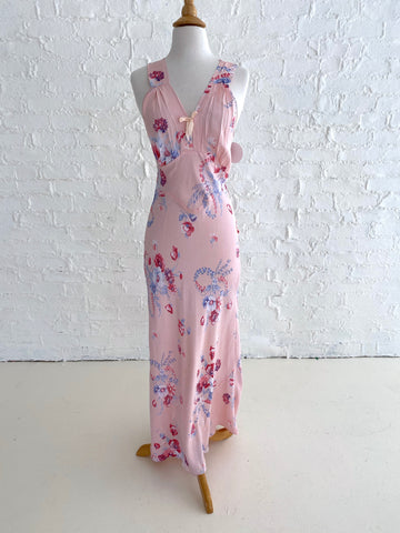 Pink Rayon Slip Dress with Floral Print