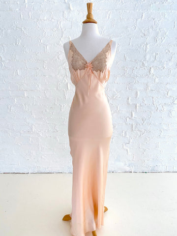 Peach Silk Spaghetti Strap Dress With Lace Insert and Bow Detail