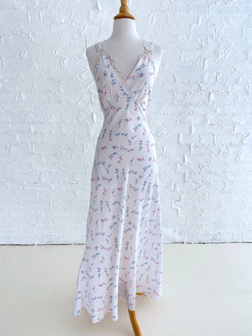 Handmade White Silk Slip dress with Ditzy Print