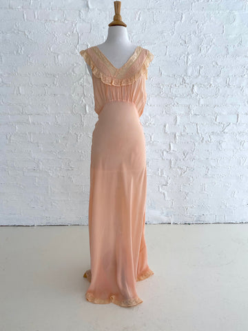Peachy Pink Slip dress with Peach Lace Detail