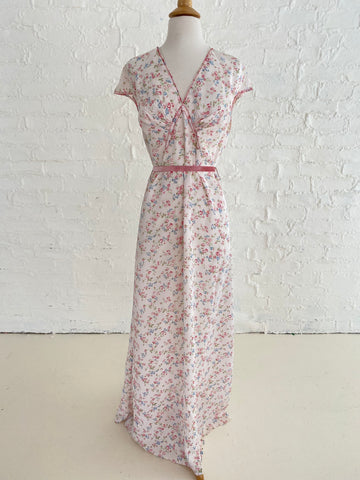 White Rayon Dress with Floral Print and Red Stitching Detail