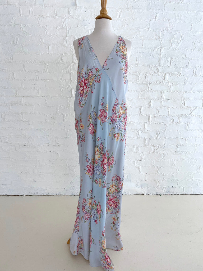Blue Rayon Slip Dress with Rich Flower Print