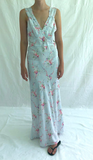 Light Blue Floral Bouquet Print Slip
