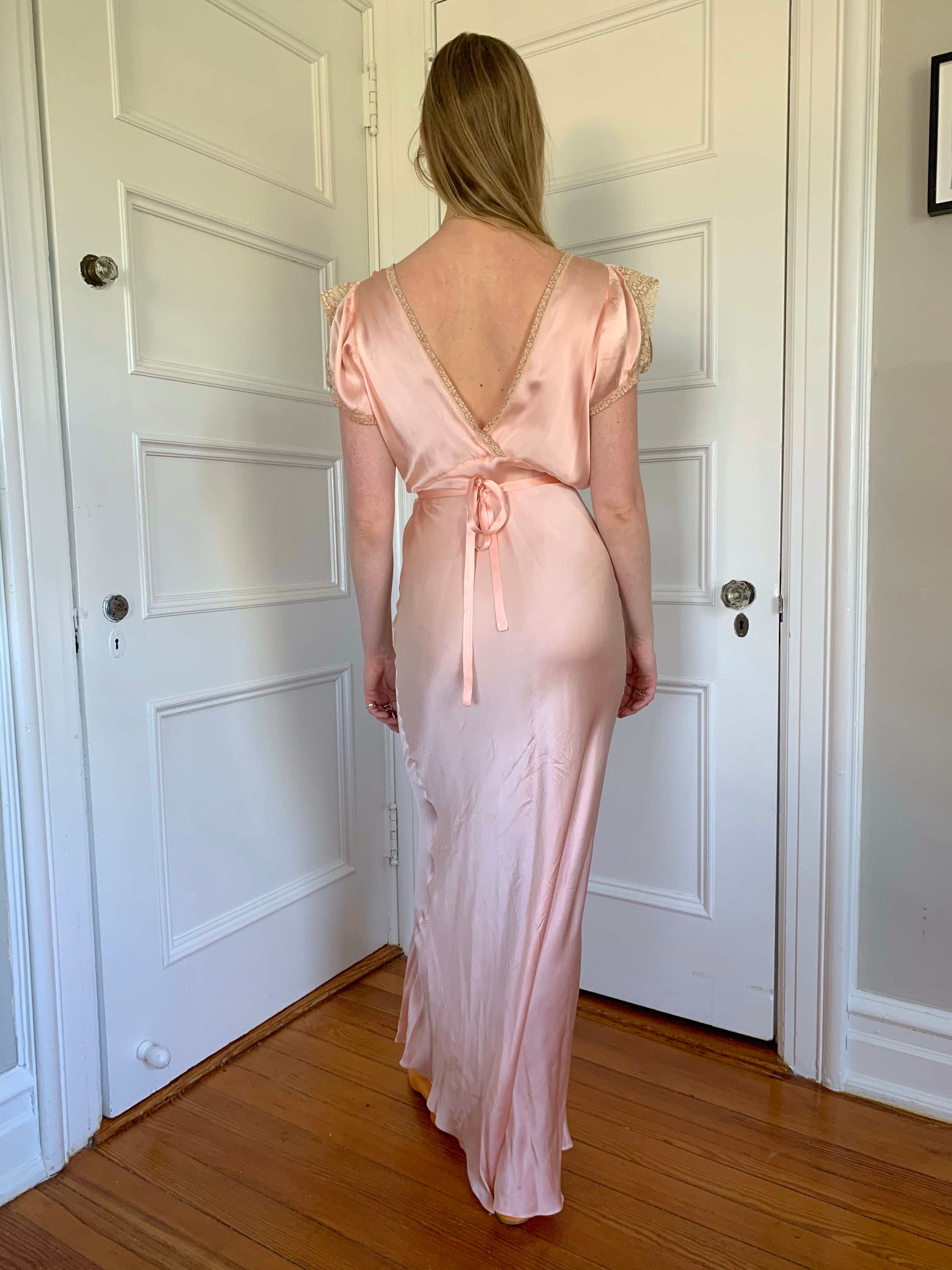 Pink Silk Slip with Little Sleeve and Cream Lace