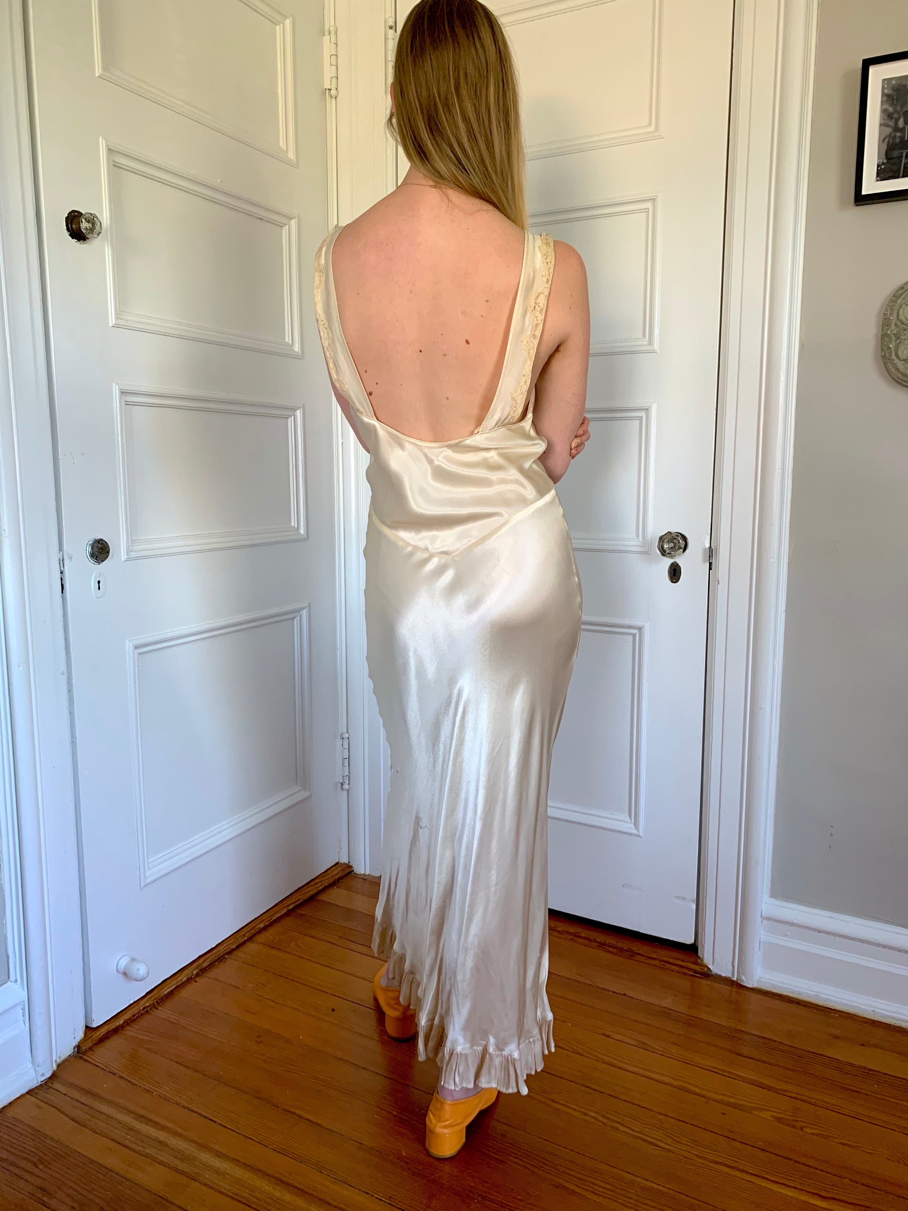 Cream Silk Slip with Lace Detail