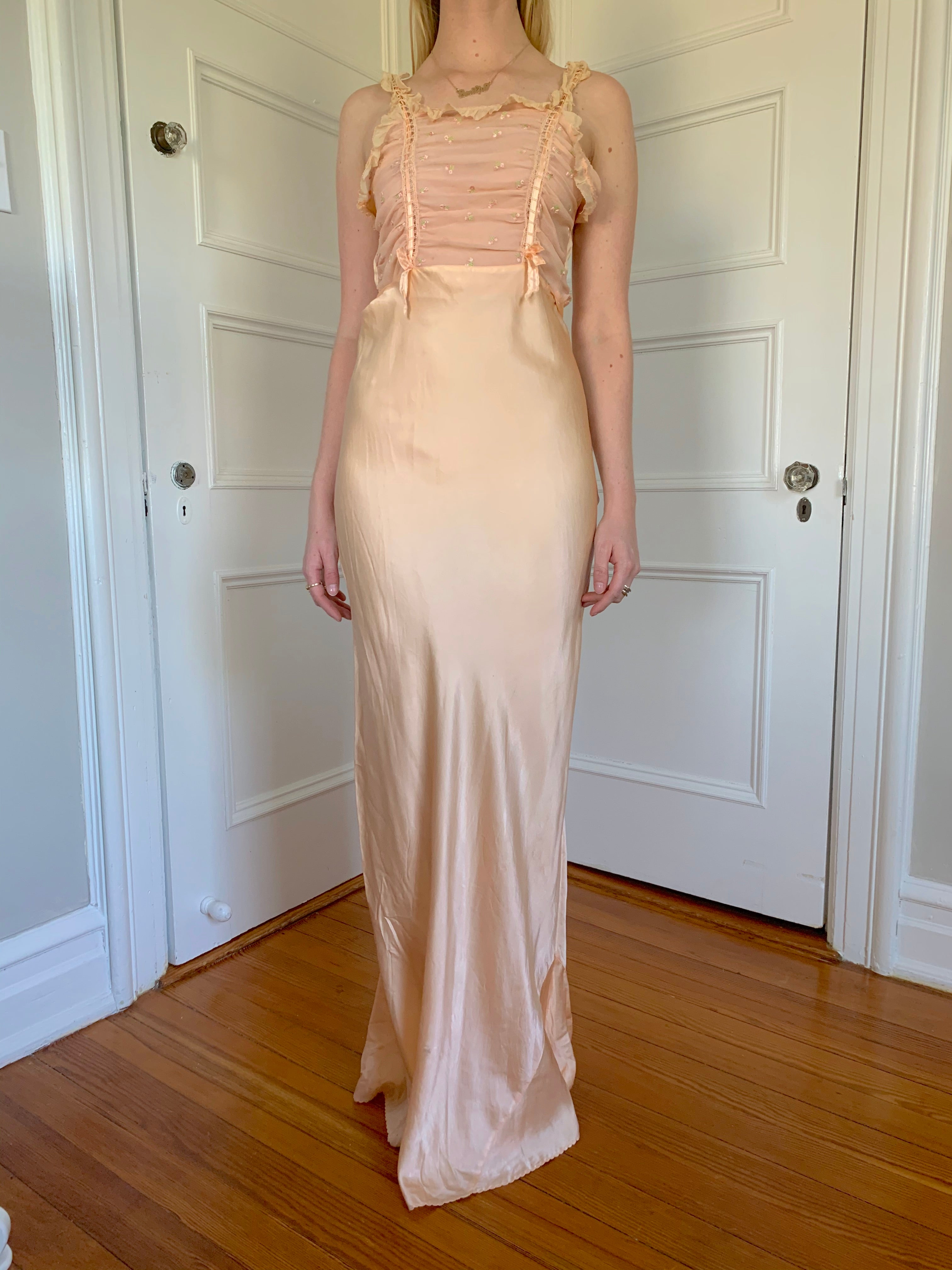 Peach Silk Slip with Chiffon Bust, Ribbons, and Floral Embroidery