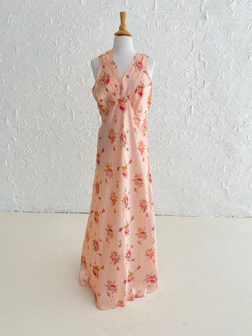 Pink Slip Dress with Rose Print