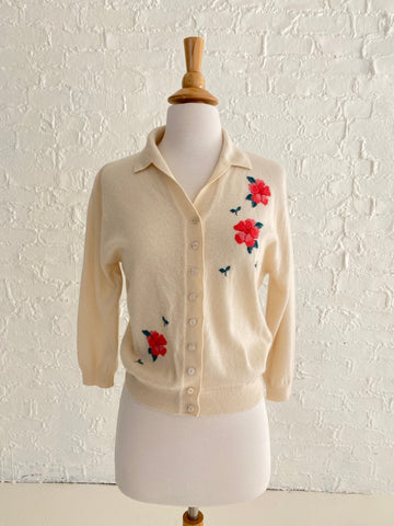 Beautiful Cream Cashmere Cardigan with Floral detail