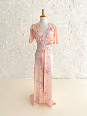 Pink Rayon Robe with Floral Pattern and Puffed Sleeve